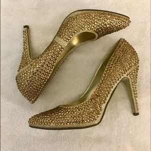 Gold Sequins Vegan Sparkle Heels